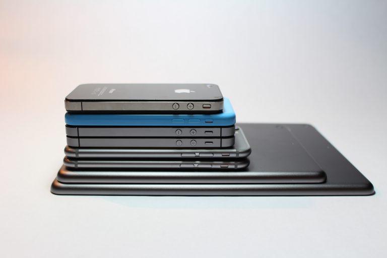 stack of phones